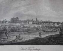 """Lithographie von Adolph Kunike (1777-1838 Wien) """"Stadt Regensburg"""", nach einer Zeichnung von J. Alt,"""