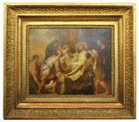 "Gemälde - wohl 18.Jahrhundert ""Grablegung Christi"", Öl auf Kupfer, anonymer Künstler, Maße ca. 29x36"