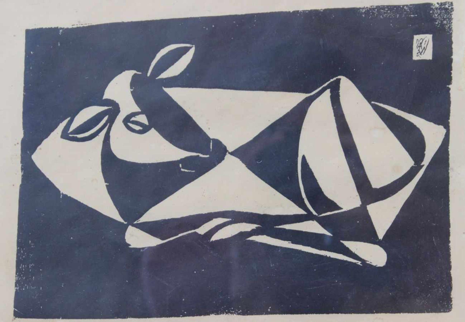 """Holzschnitt - Ewald Matare (1887 Burtscheid - 1965 Büderich) """"Liegendes Kälbchen"""", typographisch"""