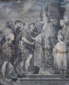 """Kupferstich aus dem 18.Jahrhundert """"Vorsprechen beim Papst"""", Altersspuren (besch., Stockfleck), Maße"""