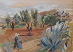 """Aquarell - Martin Alfred Christ (Langenbruck Schweiz 1900 - 1979 Mallorca) """"Landschaft mit"""