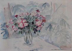 "Aquarell - Dora Brandenburg - Polster (1884 Magdeburg - 1958 Böbing / Obb.) ""Heckenrosenstrauss"","