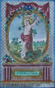 "Kupferstich - wohl deutsch um 1800 ""Hl. Sebastian"", coloriert, Maße ca. 14x8,5 cm, Goldrahmen"