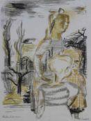 """Farblithographie - Charles Crodel (Marseille 1894 - 1973 München) """"Kinder im Vorfrühling"""", r.u."""