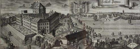 """Großer Kupferstich - Michael Wening (1645 Nürnberg - 1718 München) """"Schloß Poxau in Niederbayern"""","""