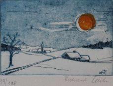 """Farbradierung - Richard Triebe (1922 Briesen/Dux, Böhmen - Etterzhausen bei Regensburg) """""""