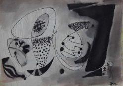 """Lot Zeichnungen- Hans Geistreiter (1910 - 1996 Kallmünz) """"Abstrakte Kompositionen"""", r.u."""