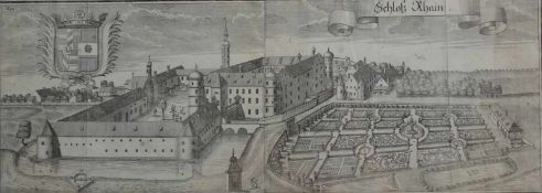 """Großer Kupferstich - Michael Wening (1645 Nürnberg - 1718 München) """"Schloß Rain bei Straubing"""", 18."""