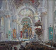 """Gemälde - deutsch 20.Jahrhundert """"Barocke Innenansicht der Basilika St. Martin und Oswald in"""
