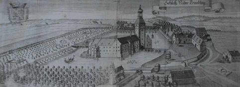 """Großer Kupferstich - Michael Wening (1645 Nürnberg - 1718 München) """"Schloß Niedertraubling"""", 18."""