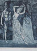 """Farbradierung - Prof. Ernst Fuchs (Wien 1930 - 2015) """"Tanz der Salome"""", r.u. Bleistiftsignatur,"""