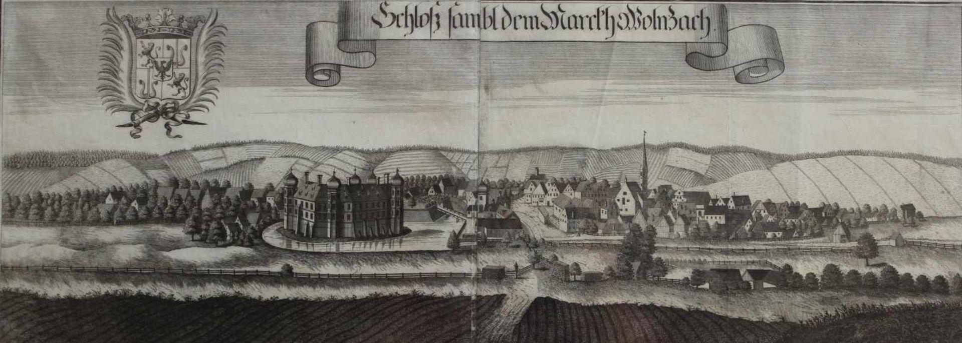 """Großer Kupferstich - Michael Wening (1645 Nürnberg - 1718 München) """"Schloß und Markt Wolnzach"""", 18."""
