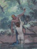 """Arbeit von Max Wissner (1873 Geiersberg/Böhmen - 1959 Regensburg) """"Angelnder Pan wird von einer"""