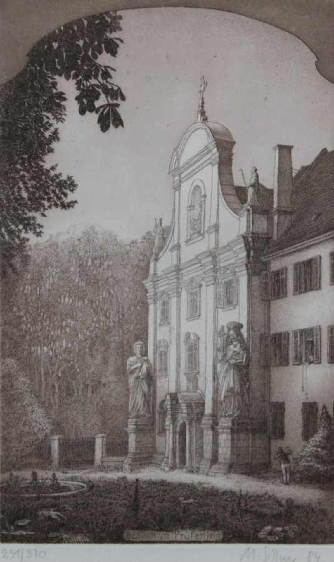 """Radierung - Manfred Sillner (1937 Berlin - Abensberg) """"Besuch zu Prüfening"""", r.u."""