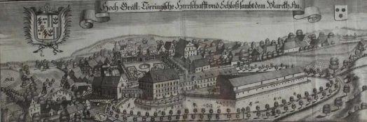 """Großer Kupferstich - Michael Wening (1645 Nürnberg - 1718 München) """"Schloß Au der Grafen von Törring"""