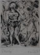 """Radierung - Paul Kleinschmidt (1883 Bublitz - 1949 Bensheim) """"Adam und Eva"""", l.u. signiert und"""