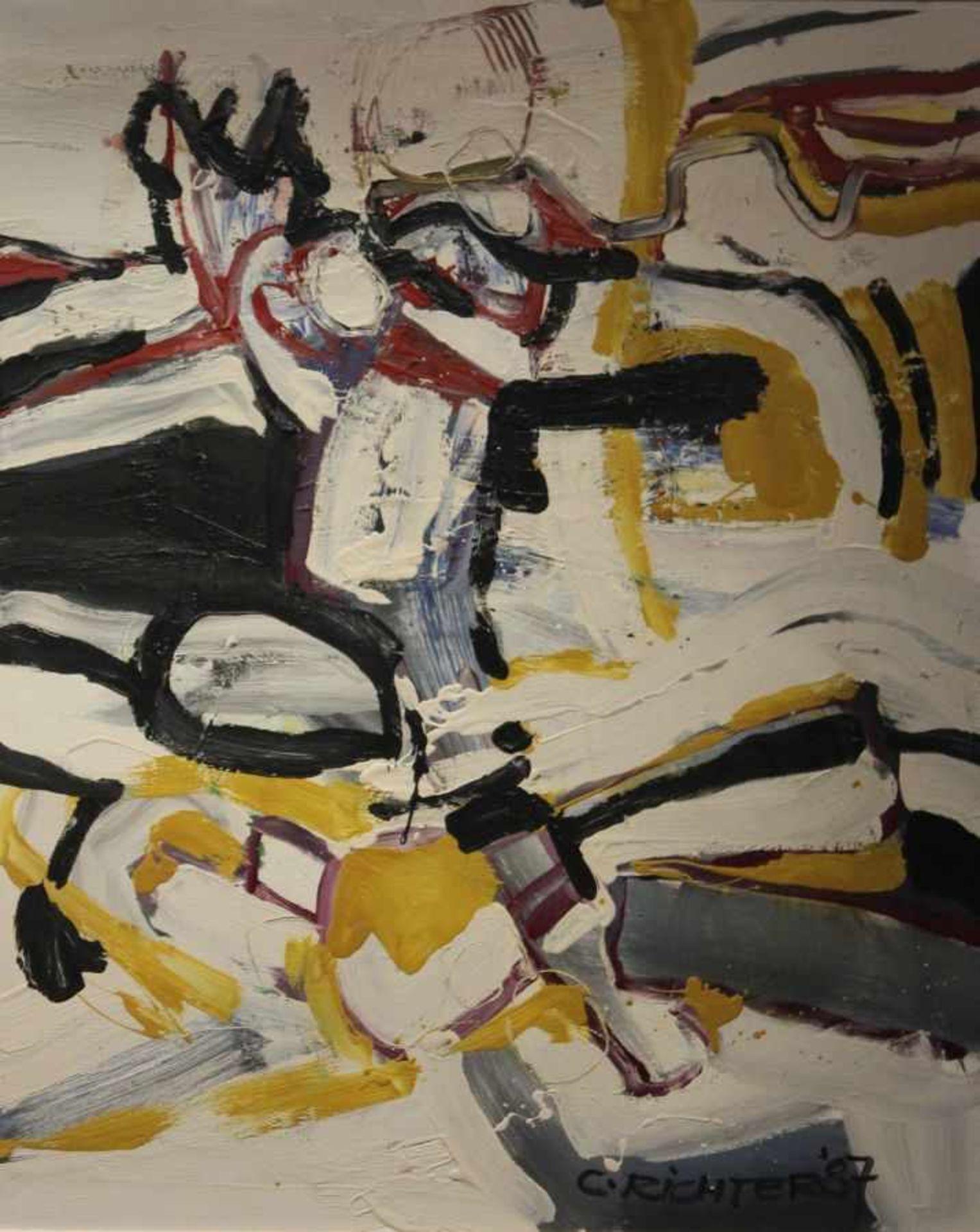 """Gemälde - Cornelius Richter (1944 Egger - 2014 Bad Reichenhall) """"Abstrakte Komposition"""", r.u."""