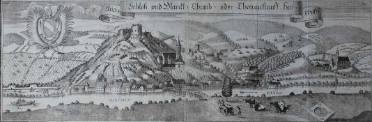 """Großer Kupferstich - Michael Wening (1645 Nürnberg - 1718 München) """"Schloß und Markt Donaustauf"""","""