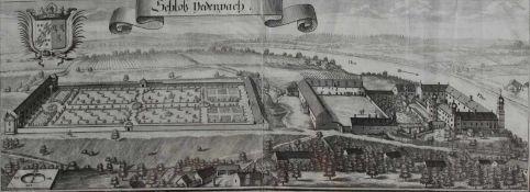 """Großer Kupferstich - Michael Wening (1645 Nürnberg - 1718 München) """"Schloß Jettenbach bei Mühldorf"""