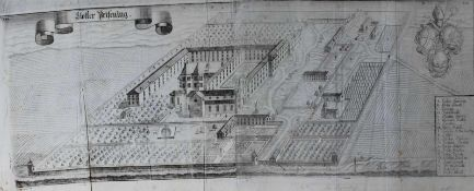 """Großer Kupferstich - Michael Wening (1645 Nürnberg - 1718 München) """"Kloster Prüfening Regensburg"""","""
