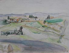"""Aquarell - Kurt von Unruh (1894 Hannover - 1986 Roding) """"Landschaft"""", r.u. monogrammiert, lasierende"""