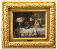 """Gemälde - Lea Reinhart (Brünn 1877 - 1970 Wien) """"Stillleben mit Orientteppich, Figurenvase,"""