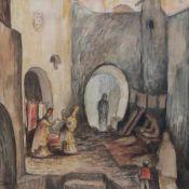"""Aquarell - Eva von Rossen (1921-2010 Landsberg / tätig am Ammersee) """"Orientalische Szene"""", l.u."""