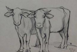 """Zeichnung - Willi Ulfig (1910 Breslau - 1983 Regensburg) """"Paar Kühe"""", r.u. signiert und datiert"""