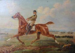 """Gemälde - deutsch um 1900 """"Fuchs von Pilsting"""", Öl auf Holz, anonymer Künstler, Maße ca. 36x51 cm"""