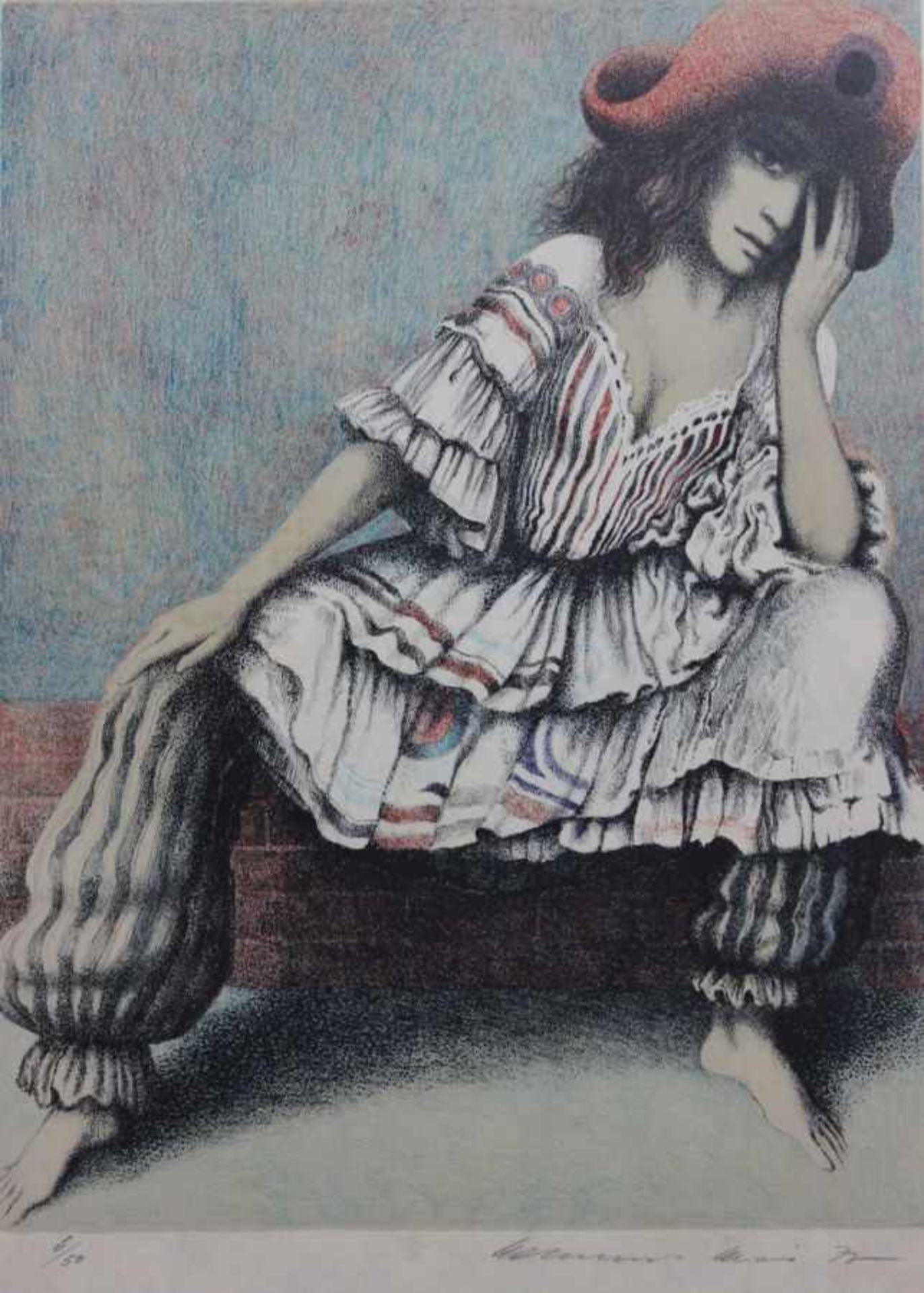 """Lithographie - Helmut Kies (1933 Wien) """"Harlekin und Columbine"""", r.u. Bleistiftsignatur, datiert 77,"""