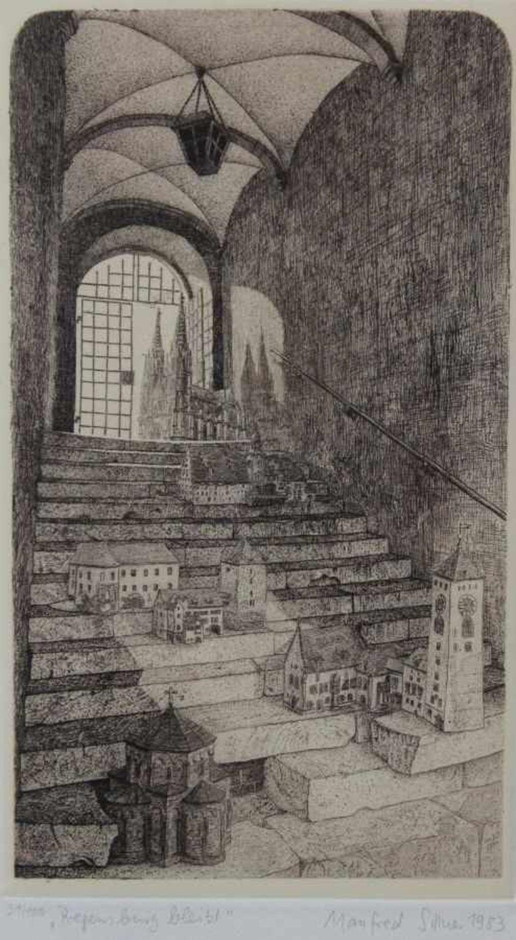 """Radierung - Manfred Sillner (1937 Berlin - Abensberg) """"Regensburg bleibt"""", r.u. signiert und datiert"""