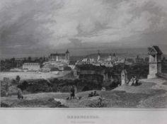 """Paar Stahlstiche aus dem 19.Jahrhundert """"Stadtansicht und Dom zu Regensburg"""", Passepartout,"""