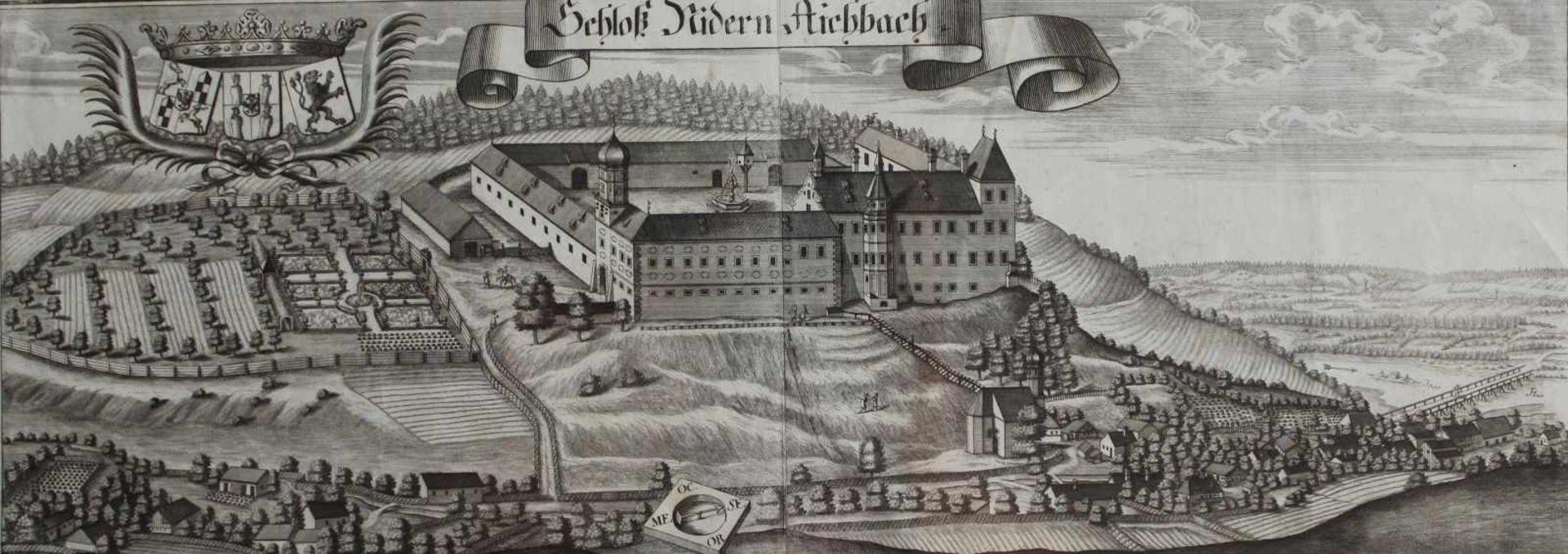 """Großer Kupferstich - Michael Wening (1645 Nürnberg - 1718 München) """"Schloss Niederaichbach bei"""