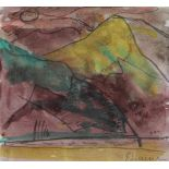 """Aquarell - Bernd Zimmer (1948 Planegg bei München) """"Landschaft"""", r.u. Bleistiftsignatur,"""