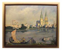 """Gemälde - Georg Wiesnet (XX.Jahrhundert) in Anlehnung an Max Wissner, """"Stadtansicht Regensburg"""", r."""
