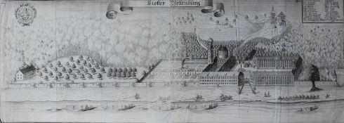 """Großer Kupferstich - Michael Wening (1645 Nürnberg - 1718 München) """"Kloster Weltenburg bei Kelheim"""","""
