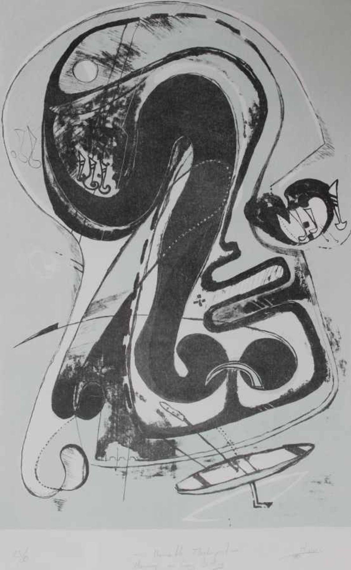 """Lithographie - Manfred Dinnes (1950 Regensburg - 2012) """"Unerwartete Flaschenpost - Hommage an"""