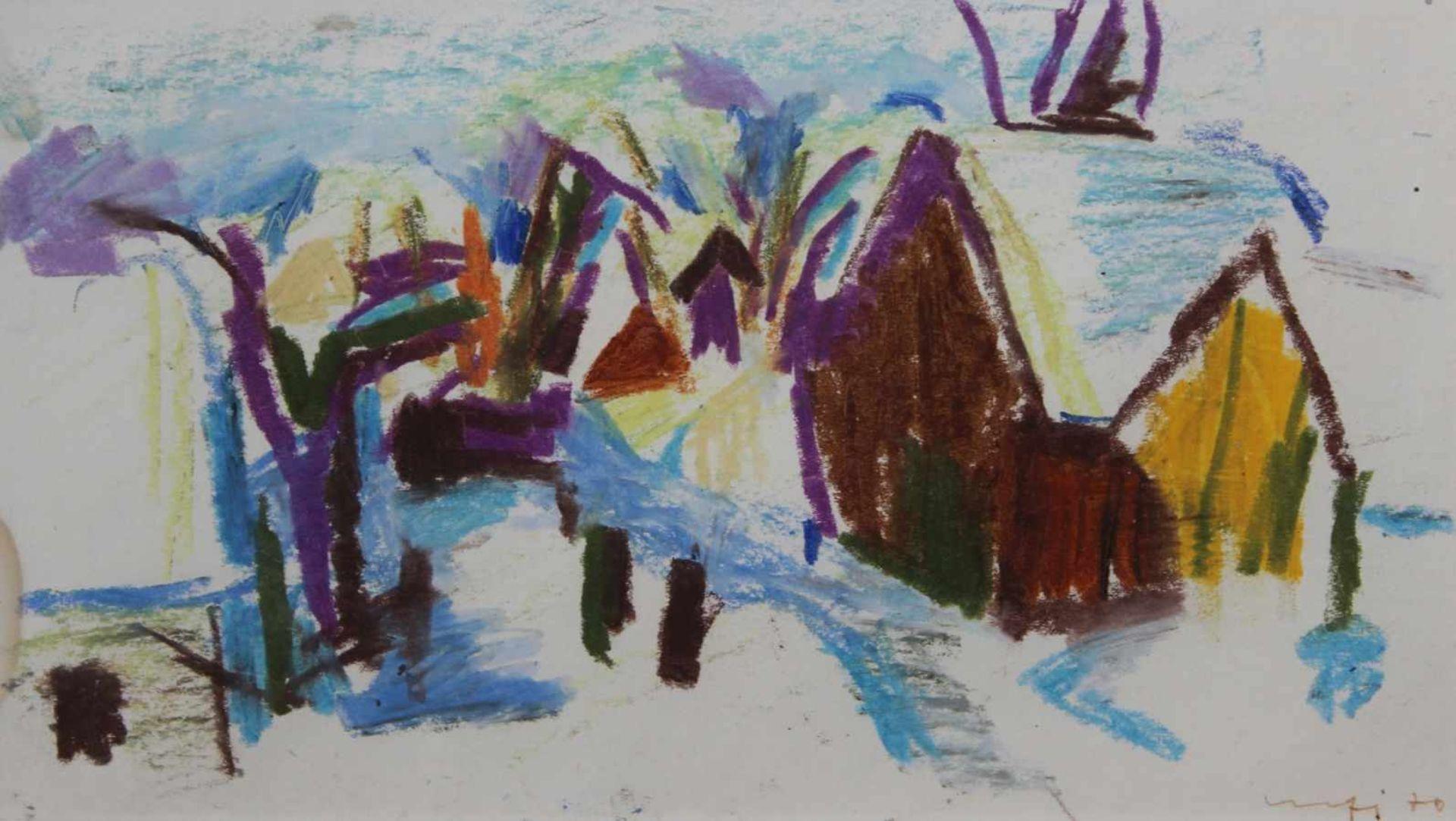 """Zeichnung - Willi Ulfig (1910 Breslau - 4.2.1983 Regensburg) """"Winterlandschaft"""", r.u. signiert und"""