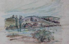 """Paar Aquarelle - um 1940/50 """"Donaulandschaften mit Stadtansicht Regensburg und Dorfansicht"""", 1 x"""