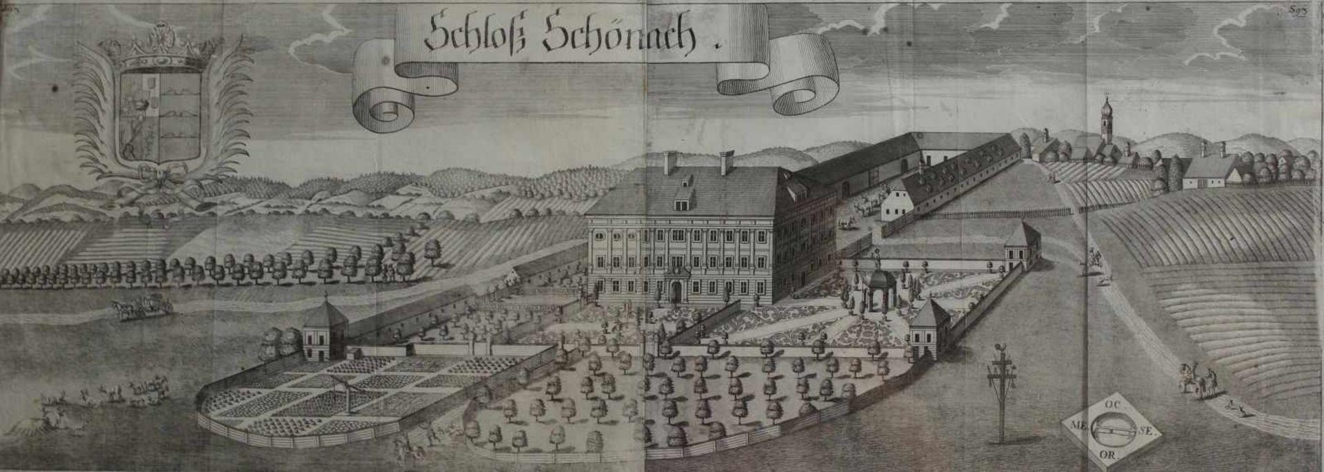 """Großer Kupferstich - Michael Wening (1645 Nürnberg - 1718 München) """"Schloß Schönach im Landkreis"""