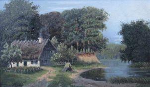 """Gemälde aus dem 19.Jahrhundert """"Landschaft mit Bauernhaus und See"""", l.u. undeutlich signiert (wohl"""