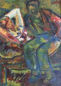 """Großes Aquarell - Franz REINHARDT (1904 München 1968) """"Junges Paar im Garten"""", r.u. signiert,"""