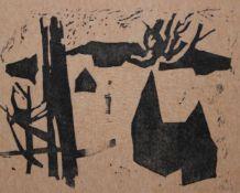 "Linolschnitt - Willi Ulfig (26.11.1910 Breslau - 4.2.1983 Regensburg) ""Dorf im Schnee"", r.u."