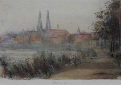 """Aquarell auf Radierung - Gerhard Prechtl (1951 Regensburg) """"Ansicht von Regensburg"""", u.M."""