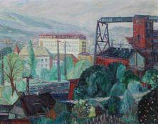 """Gemälde - Julius Schmitt (Würzburg XX.Jahrhundert) """"Industrieanlage bei Würzburg"""", l.u. signiert und"""