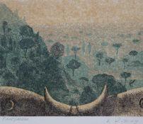"Linolschnitt - Karl Rössing (Gmunden - 1987 Wels) ""Toskanische Landschaft"", r.u."
