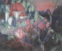 "Pastellkreide - Rita Fränzy Karrer (1940 Abensberg) ""Blick zur Mariaorter Kirche"", l.u. signiert,"