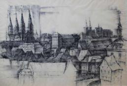 """Zeichnung - Anton Greiner (1914 Bamberg - 2007) """"Bamberg - Blick vom Geyerwörthturm"""", r.u."""