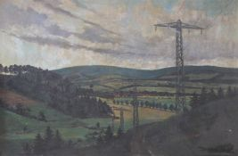 "Großes Gemälde - Gustav Lüttgens (Berlin 1898) ""40 KV Leitung"", r.u. signiert und datiert 1925, Öl"