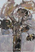 """Farblithographie - Oskar Koller (16.10.1925 Erlangen - 17.5.2004 Fürth) """"Braune Blumen mit"""
